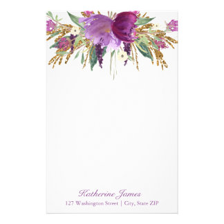 Purple and Gold Watercolor Flowers Personalized Stationery Design