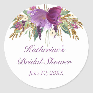 Purple and Gold Watercolor Flowers Round Sticker