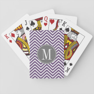 Purple and Gray Chevron Pattern with Monogram Playing Cards
