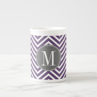 Purple and Gray Chevron Pattern with Monogram Tea Cup