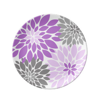 Purple and Gray Chrysanthemums Floral Pattern Plate