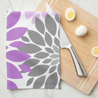 Purple and Gray Chrysanthemums Floral Pattern Tea Towel
