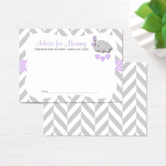 Purple and Gray Elephant Baby Shower - Advice Business Card