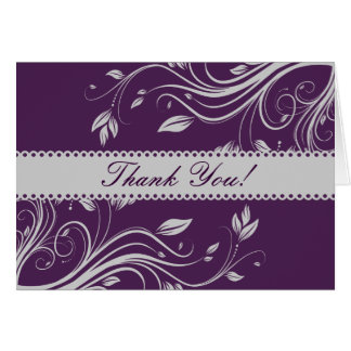 Purple and Gray Floral Swirls Thank You Note Card