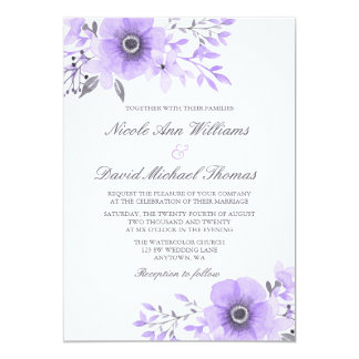 Purple and Gray Watercolor Anemone Wedding 13 Cm X 18 Cm Invitation Card