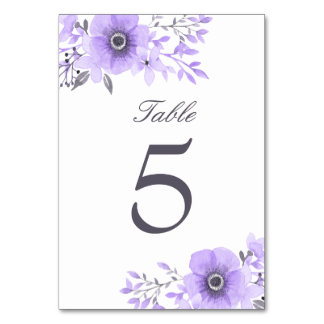 Purple and Gray Watercolor Floral Wedding Table Card