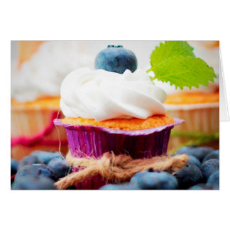 Purple and Green Blueberry Cupcake - Sweet Bakery Card