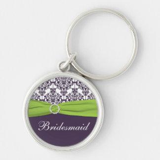 Purple and Green Bridesmaid Keychain