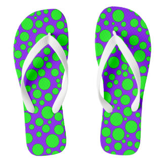 PURPLE AND GREEN BUBBLES FLIP-FLOP THONGS