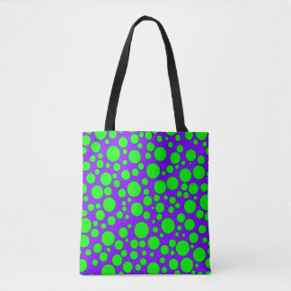 PURPLE AND GREEN BUBBLES TOTE BAG