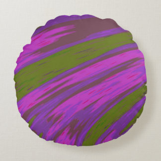 Purple and Green Colour Swish Abstract Round Cushion