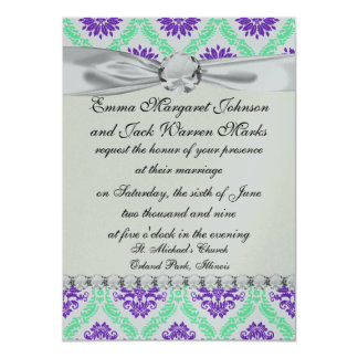 purple and green damask 11 cm x 16 cm invitation card