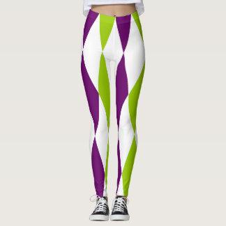 Purple and Green diamond design leggings