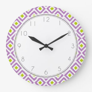 Purple and Green Diamond Ikat Pattern Large Clock