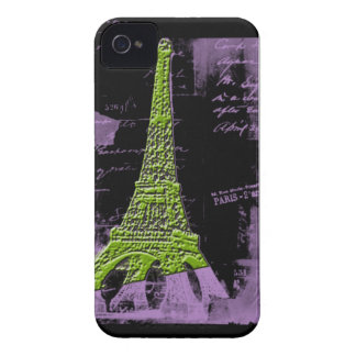 Purple and Green Eiffel Tower PARIS Phone Case iPhone 4 Cover