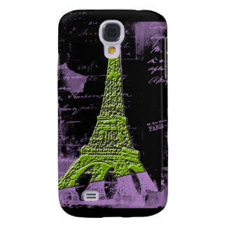 Purple and Green Eiffel Tower PARIS Phone Case