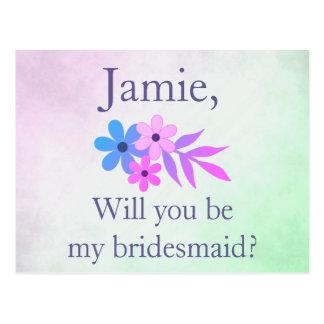 Purple and Green Floral Bridesmaid Invitation Postcard