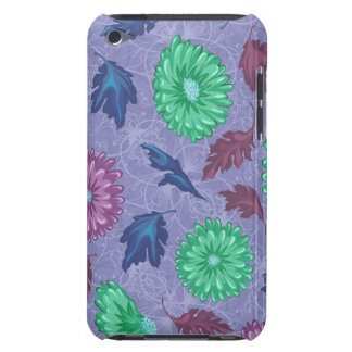 Purple and Green Floral Print iPod Case-Mate Case