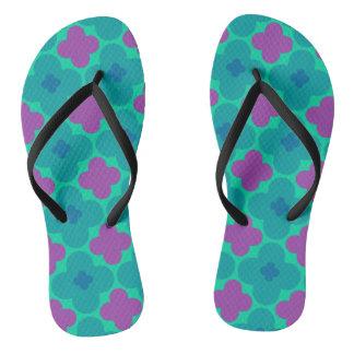 Purple and Green Flower Power Flip Flops Thongs