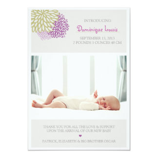 "Purple and Green Flowers Photo Birth Announcements 5"" X 7"" Invitation Card"