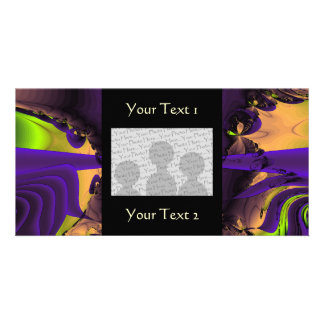 Purple and Green Funky Fractal Art. Photo Cards