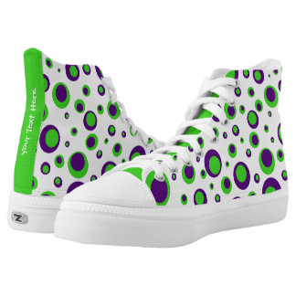 [Purple and Green] Polkadots High-Top Sneakers
