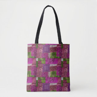 Purple and Green Quilt Like Tote Bag