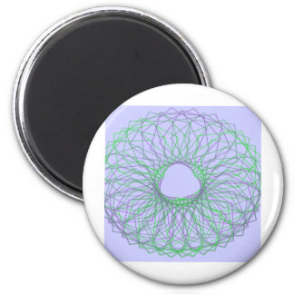 Purple and green spirograph 6 cm round magnet