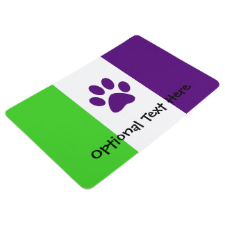 [Purple and Green] Striped Colour-Block Floor Mat