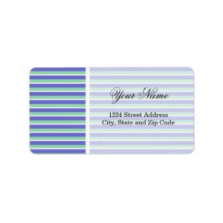 Purple and Green Stripes Pattern Address Label