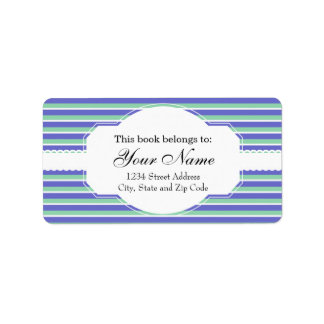 Purple and Green Stripes Pattern Address Label