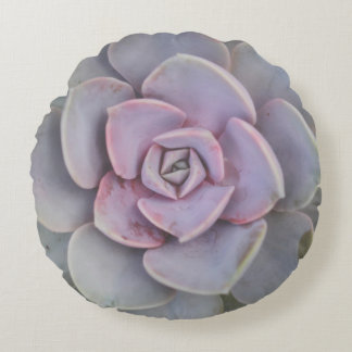 Purple and Green Succulent Photo Round Cushion
