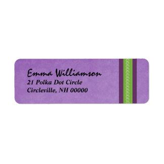 Purple and Green Swirl Ribbon Return Address Label