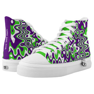 [Purple and Green] Swirls Op-Art High-Top Sneaker