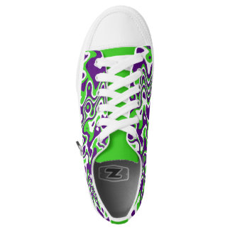 [Purple and Green] Swirls Op-Art Sneakers