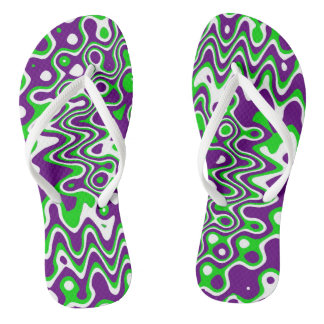 [Purple and Green] Swirls Op-Art Thongs
