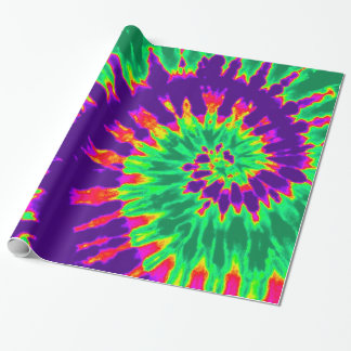 Purple and Green Tie Dye Wrapping Paper