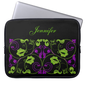 Purple and Green Vine with Name Laptop Sleeve