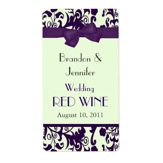 Purple and Green Wedding Mini Wine Labels