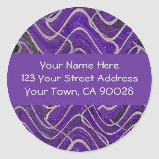 purple and grey address labels round sticker