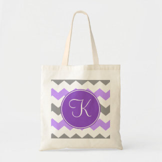 Purple and Grey Chevron with Purple Monogram Tote Bag
