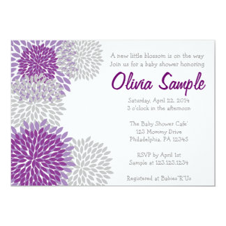 Purple and Grey Dahlia Baby Shower Invitation