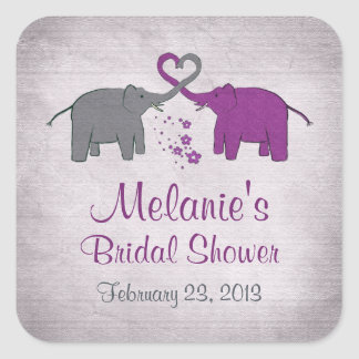 Purple and Grey Elephant Bridal Shower Square Sticker