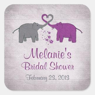 Purple and Grey Elephant Bridal Shower Sticker