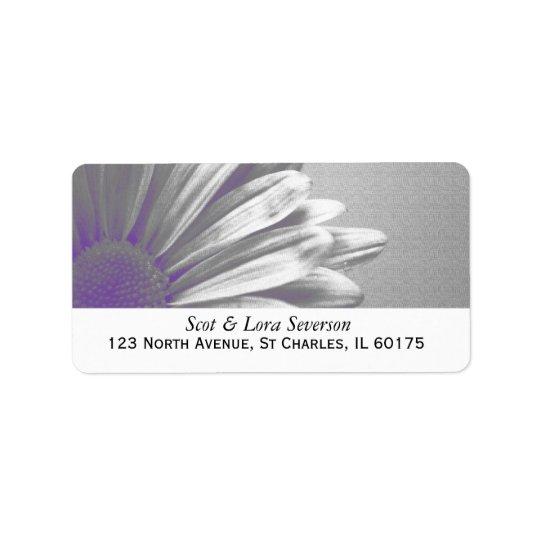 Purple and Grey Floral Highlights Return Address Address Label
