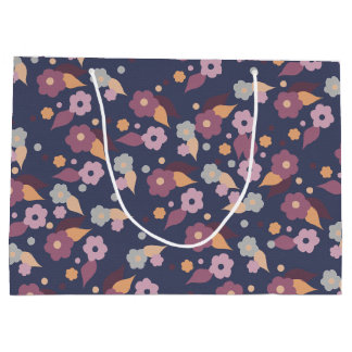 Purple and Grey Floral Large Gift Bag