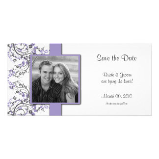 Purple and Grey Floral Save the Date Photo Cards