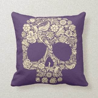 Purple and Ivory Sugar Skull Cushion