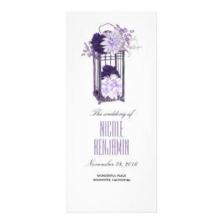 Purple and Lavender Floral Lantern Wedding Program Rack Card