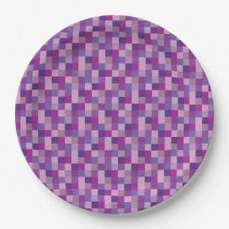 Purple and Lavender Pixelated Pattern Paper Plate